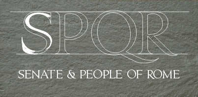 SPQR: The Senate and people of Rome. First line of Trajan inscription