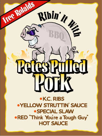 Pete's Pulled Pork. LHF Opening Night font